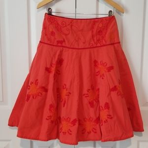 Oilily embroidered scarlet skirt w/x-stitch bees!